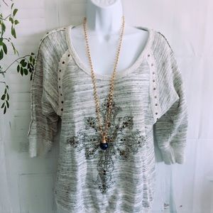 Miss Me Cold Shoulder Gray Bling Sweater Medium